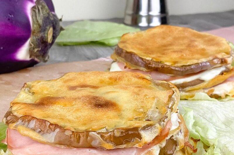 Sandwich di melanzane pastellati al forno